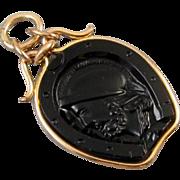 Antique Victorian black onyx intaglio horse shoe rose gold filled pocket watch fob