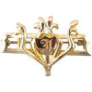Antique Edwardian shield signed letter D brooch pin with hook back attachment watch pin