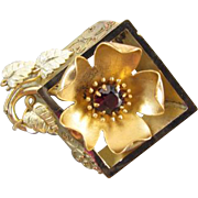 Antique Victorian tri color gold filled SHADOWBOX picture frame flower brooch pin signed Plain