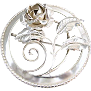 Large vintage sterling silver 3 dimensional rose flower and leaves circle wreath brooch pin