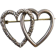 Perfect Valentine Antique Victorian sterling silver entwined hearts pin brooch