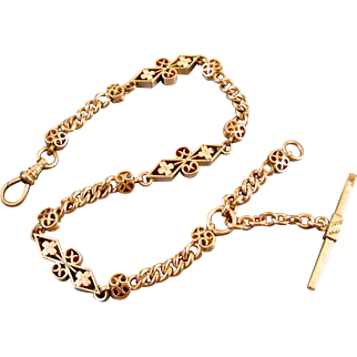 MASSIVE and highly ornate Antique mid-Victorian signed Simmons rose pink gold filled pocket watch t bar vest chain