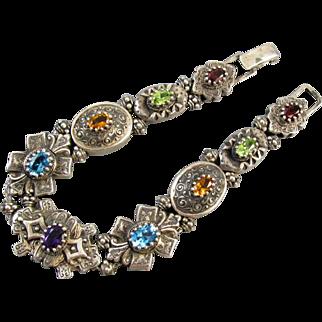 MASSIVE Modern estate 46 gram sterling silver jeweled slide bracelet