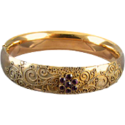 SOLD Antique mid-Victorian gold filled Etruscan Revival wire work amethyst paste bangle bracel