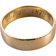 1872 Reuben engraved antique mid Victorian 18k rose gold wedding band ring