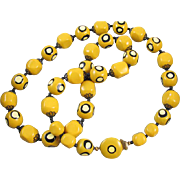 Vintage hand painted yellow beads with matching metal clasp bead necklace