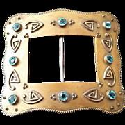 Victorian Arts and Crafts zircon belt buckle sash