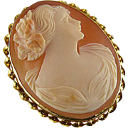 Signed Michallef vintage early Art Deco 10k  cameo brooch pin