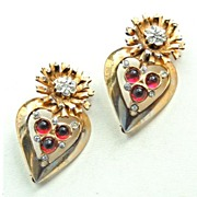 SALE Hallmarked Sterling Silver Pair of Pins, Gold Wash With Red Glass and Clear Rhinestones