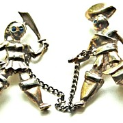 SALE STERLING Silver Figural Pirate Man and Woman Chatelaine Pin