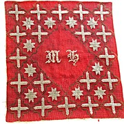 SALE Early Cranberry Red and Clear Glass Bead  Star and Cross Tapestry