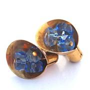 SALE Early STERLING SILVER Vermeil Screwback Earrings, Blue Glass Centers