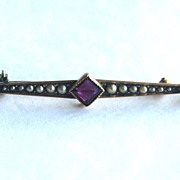 SALE Hallmarked Victorian 10K Gold Pin With Seed Pearls and Amethyst Stones