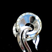 SALE Vintage Signed CROWN TRIFARI Silver Tone Rhinestone Pin, Pat Pend