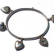 SALE RARE Victorian Puffy Heart Sterling Rigid Bangle Bracelet, 5 Puffy Heart Charms