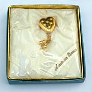 "SALE RARE Pitmann & Keeler ""American Queen"" Sweetheart Heart Shaped Pin, Original Bo"
