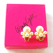 SALE Signed WENDY GELL Faux Pearl and Watermelon Glass Huge Clip Earrings