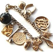 SALE Vintage Chunky Gold Toned Charm Bracelet, Snake Head, Dice, Buddha, 8 Ball LUCKY