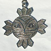 SALE Vintage Sun With Face Pendant Necklace Chain