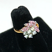 SALE Huge Pink and Clear 18K Gold Electroplated Costume Cocktail Ring
