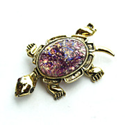 SALE Vintage Cats Eye Glass Stone TURTLE Pin