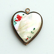SALE Early Hand Painted Mother of Pearl Heart Shape Locket Pendant