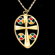 SALE Vintage Enameled Cross Pendant Necklace
