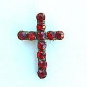 SALE Early Garnet Red Colored Rhinestone CROSS Pin