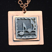 SALE Vintage Shadow Box Style Musical Note Copper Necklace Pendant