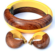 SOLD Vintage Butterscotch Bakelite and Wood Demi, Earrings and Clamper Bracelet