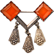 SALE Russian Sterling Silver and Amber Dangling Pin 875