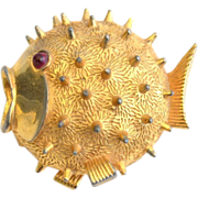 SALE Vintage Signed BOUCHER Puffer Fish Pin