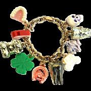 SALE Vintage Cracker Jack Style Charm Bracelet, Plastic, Metal, Skull, Teeth
