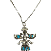 SALE Vintage Faux Turquoise and Silver Tone Bird Man Necklace