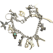 SALE Early Vintage Hallmarked STERLING SILVER Loaded Charm Bracelet, Moveable Frog Turquoise .
