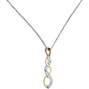 SALE Hallmarked STERLING SILVER Gold Vermeil Pendant Necklace, Clear Stones