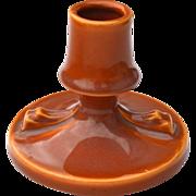 C. 1941 Roseville Pottery Rozane Pattern Candle Holder 1144-3 Burnt Orange, Brown