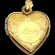 SALE Vintage 14K Yellow Gold Filled Engraved Mom Heart Locket