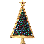 REDUCED Vintage Domed CHRISTMAS Tree Rhinestone Pin, Red Green Blue