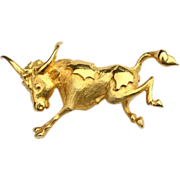 SALE Vintage Signed DENICOLA Running Bull Pin