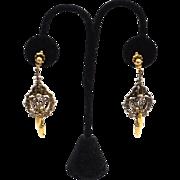 SALE Intricate Vintage Victorian Revival Dangling Earrings