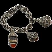 SALE Heavy Hallmarked 800 Silver Etruscan Revival Fob Bracelet, Carnelian, Amber, Rose Quartz