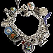 SALE Vintage Loaded STERLING SILVER Charm Bracelet, Moveable Mechanical Enamel
