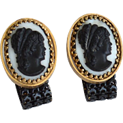 SALE Vintage Black and White Cameo Cuff Links, Cufflinks, Enamel Mesh Wrap