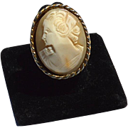 SALE Vintage Huge Oversized Hand Carved Shell Cameo Ring
