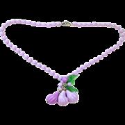 SALE Super Fun Purple Plastic Celluloid Fruit Necklace