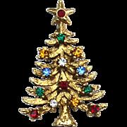 SALE Vintage Signed EISENBERG ICE Multi Colored Rhinestone Christmas Tree Pin