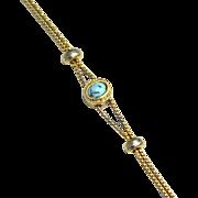 SALE Vintage Signed GOLDETTE Faux Turquoise Victorian Revival Slide Bracelet