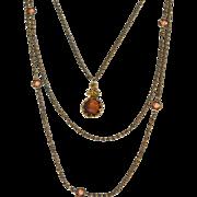 SALE Vintage Signed GOLDETTE Triple Strand Reverse Carved Intaglio Cameo Necklace