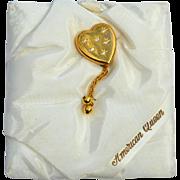 "SALE RARE Pitmann & Keeler ""American Queen"" 12K Gold Filled Sweetheart Heart Shaped"